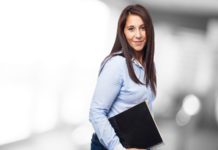 cool business woman with notebook